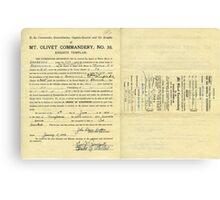 1943 Petition of Brother John Edgar Britton, Mt. Olivet Commandery No.30 Knights Templar Canvas Print