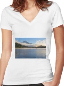 Foggy Morning at Trillium Lake Women's Fitted V-Neck T-Shirt