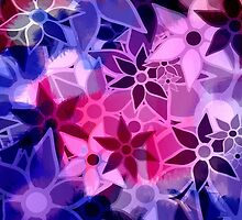 Abstract Art Retro Trendy Floral Pattern by Nhan Ngo