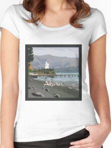 Akaroa light house, NZ by Ira Mitchell-Kirk Women's Fitted Scoop T-Shirt