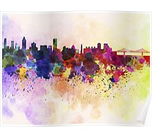 Montreal skyline in watercolor background Poster