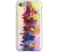 Montreal skyline in watercolor background iPhone Case/Skin