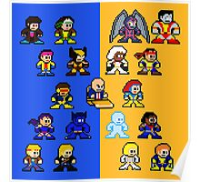 8-bit Blue and Gold X-Men Poster