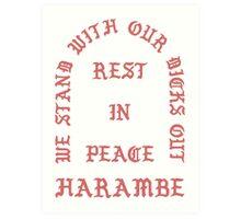 RIP Harambe Kanye West Style Art Print