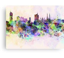 Vienna skyline in watercolor background Canvas Print