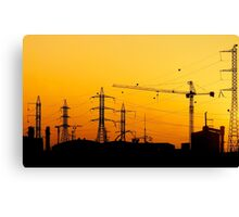 Construction crane and high power lines at sunset  Canvas Print