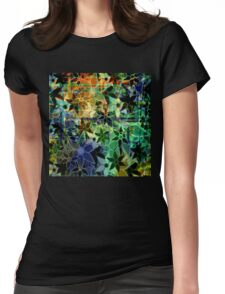 Abstract Art Retro Trendy Floral Pattern Womens Fitted T-Shirt