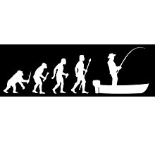 Funny Evolution Of Man and Boat Fishing Photographic Print