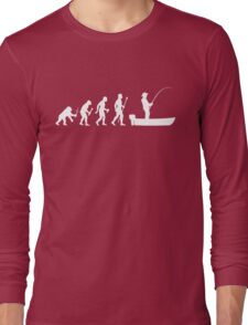 Funny Evolution Of Man and Boat Fishing Long Sleeve T-Shirt