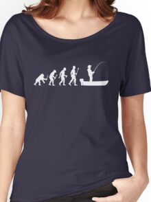 Funny Evolution Of Man and Boat Fishing Women's Relaxed Fit T-Shirt