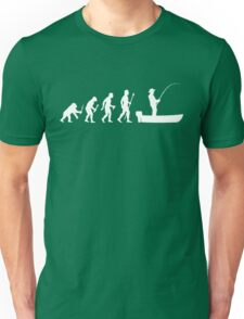 Funny Evolution Of Man and Boat Fishing Unisex T-Shirt
