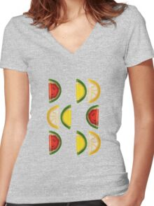 Fruit and More Fruit  Women's Fitted V-Neck T-Shirt