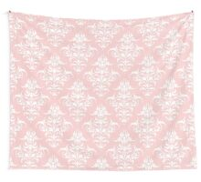Damask Pattern | Rose Quartz and White | Pantone Color of the Year 2016 Wall Tapestry