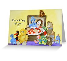 Mime & toys thinking of you Greeting Card