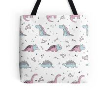 Ornament with dinosaurs, Jurassic Park. Adorable seamless pattern with funny dinosaurs in cartoon Tote Bag