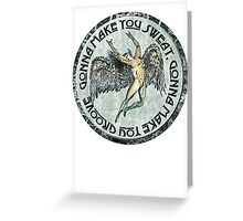 ICARUS THROWS THE HORNS - sweat and groove NEW DESIGN Greeting Card