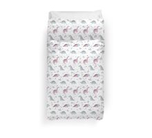 Ornament with dinosaurs, Jurassic Park. Adorable seamless pattern with funny dinosaurs in cartoon Duvet Cover