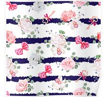 Striped navy seamless vector print with red satin bows and flowers. Poster