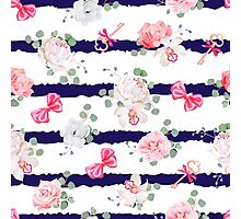 Striped navy seamless vector print with red satin bows and flowers. Photographic Print