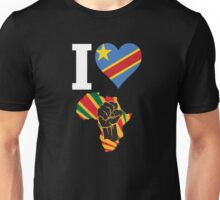 I Love Africa Map Black Power Republic of Congo  Flag T-Shirt Unisex T-Shirt