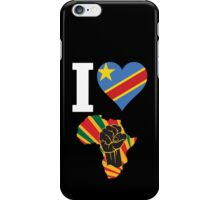 I Love Africa Map Black Power Republic of Congo  Flag T-Shirt iPhone Case/Skin