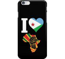 I Love Africa Map Black Power Djibouti Flag T-Shirt iPhone Case/Skin