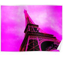 Stark Pink Eiffel Tower Poster