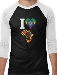 I Love Africa Map Black Power Ethiopia Flag T-Shirt Men's Baseball ¾ T-Shirt