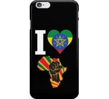 I Love Africa Map Black Power Ethiopia Flag T-Shirt iPhone Case/Skin