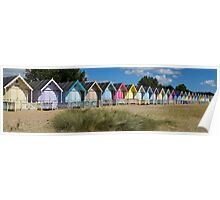 Panoramic of a row of beach huts at West Mersea, Essex Poster