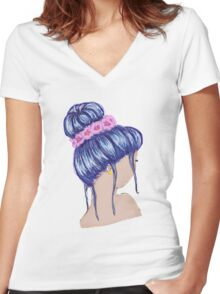 Purple Hair and a Flower Crown Women's Fitted V-Neck T-Shirt