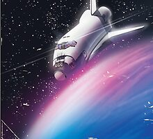 Space shuttle Science fiction space poster by Nick  Greenaway