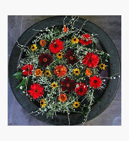 Autumn Flowers in Urn Photographic Print