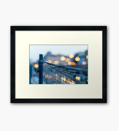 sunset from a boat in Trieste Framed Print