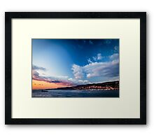 The castle and the lighthouse of Trieste Framed Print