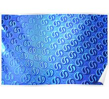 Blue Yin & Yang Abstract Pattern Poster