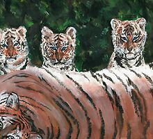 Tiger Cubs and Parent by silentsunlight