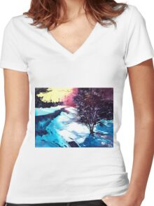Icy Morning Women's Fitted V-Neck T-Shirt
