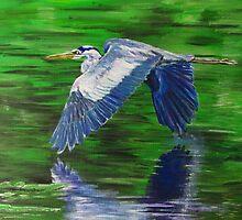 Heron in Flight by silentsunlight