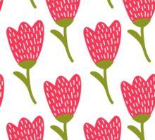 Simple doodle red tulip pattern. Cute flower seamless background. Summer wallpaper.  Sticker