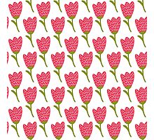 Simple doodle red tulip pattern. Cute flower seamless background. Summer wallpaper.  Photographic Print