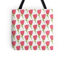 Simple doodle red tulip pattern. Cute flower seamless background. Summer wallpaper.  Tote Bag