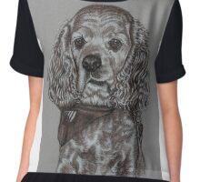 Dog portrait in sepia Chiffon Top
