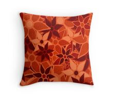 Orange Vintage Trendy Floral Pattern Throw Pillow