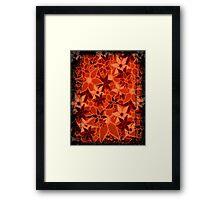 Orange Vintage Trendy Floral Pattern Framed Print