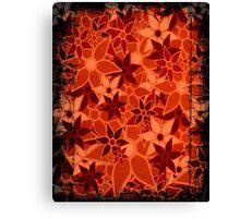 Orange Vintage Trendy Floral Pattern Canvas Print
