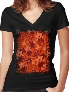 Orange Vintage Trendy Floral Pattern Women's Fitted V-Neck T-Shirt