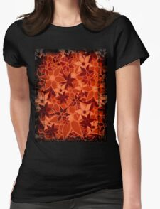 Orange Vintage Trendy Floral Pattern Womens Fitted T-Shirt