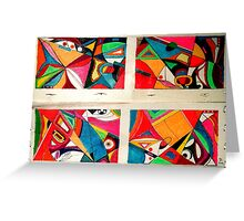 Fruit box Art - geometric abstract double diptych Greeting Card