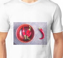 Red raw pepper in a brown wooden bowl Unisex T-Shirt